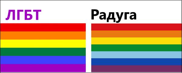 Радужный флаг ЛГБТ схож с цветами радуги