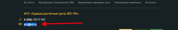 Почта для связи с поддержкой Мил.ру