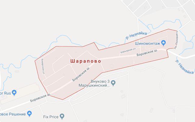 Деревня Шарапово на карте