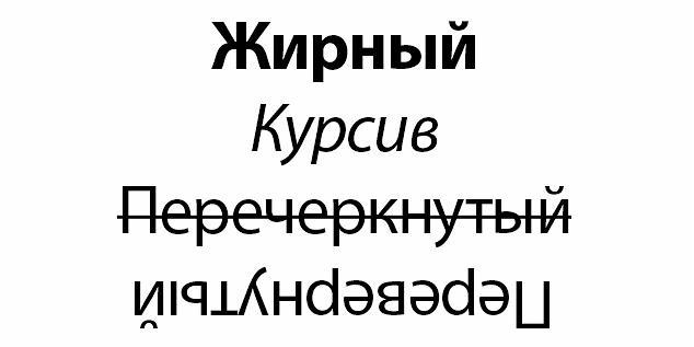 Варианты написания текста