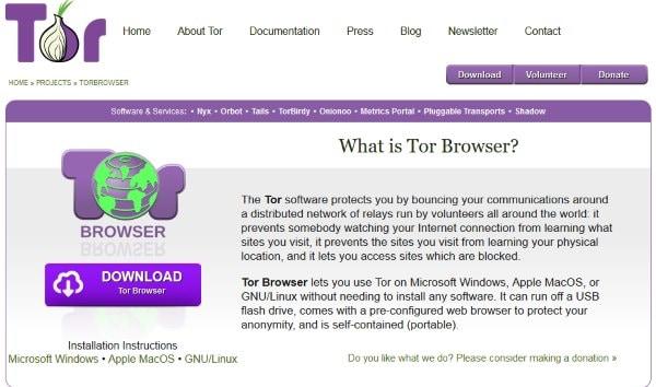 Сайт браузера Tor