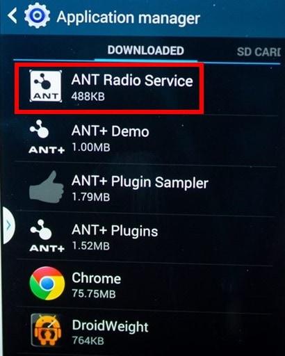 ANT в списке приложений