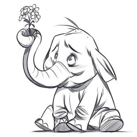Слонёнок рисунок