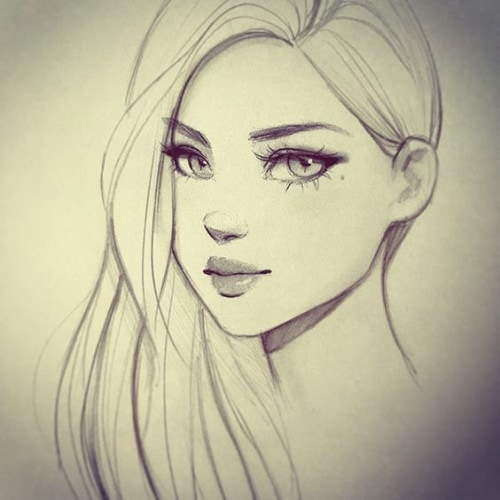 Лицо девушки рисунок