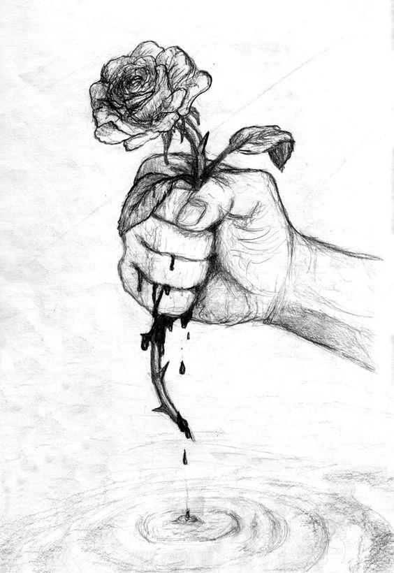 Роза в руке рисунок
