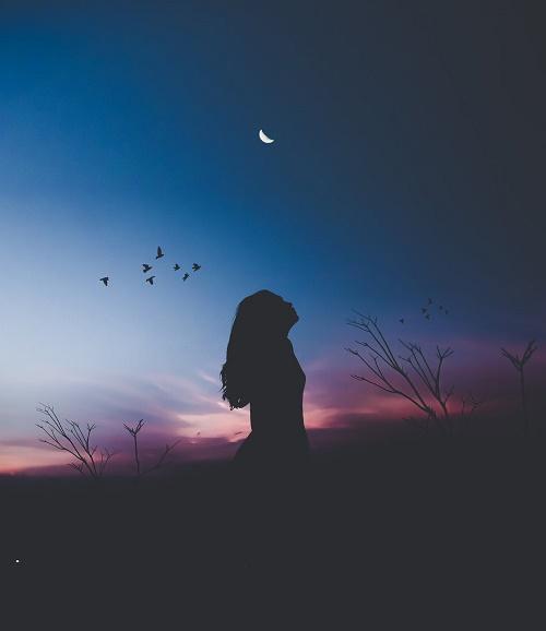 Силуэт девушки ночью
