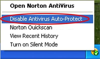 Опция отключения антивируса