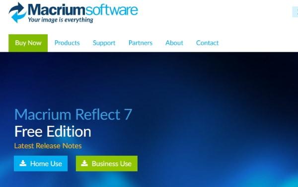 Страница программы Macrium Reflect