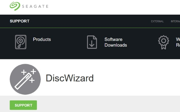 Страница Seagate DiscWizard