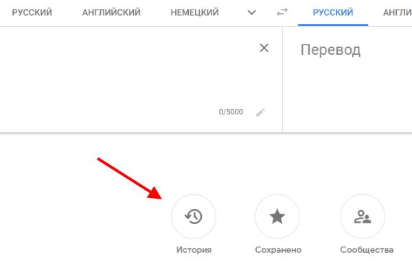 Раздел Google переводчика