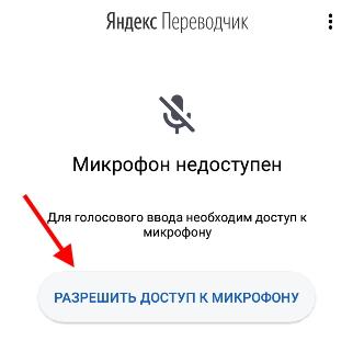 Кнопка разрешения доступа к микрофону
