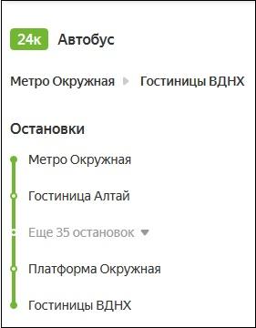 Информация по маршруту