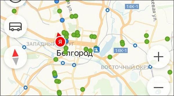Кружки на карте