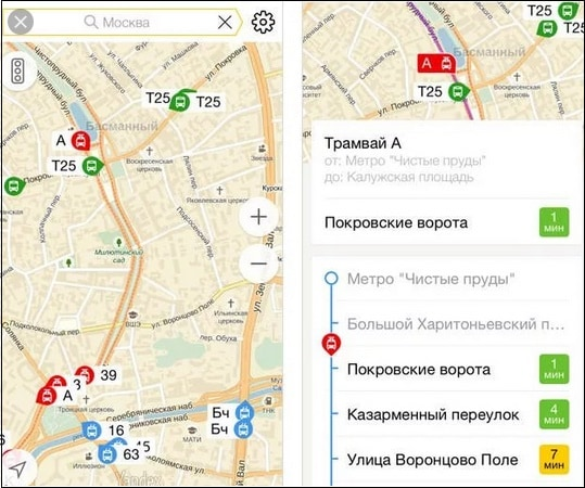 Автобусы на карте Яндекс Транспорт