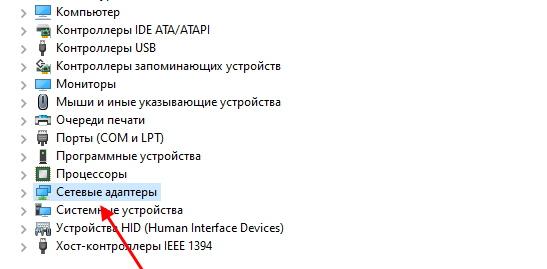 """Раздел """"Сетевые адаптеры"""""""