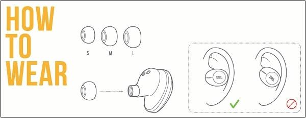 Правильное ношение наушников JBL