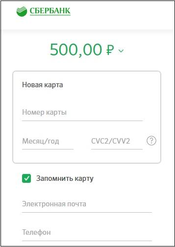 Данные карты Сбербанка при оплате