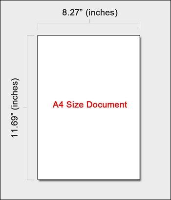 Размер А4 в дюймах
