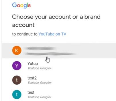 Выберите аккаунт
