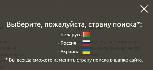 Выбор страны поиска на pomnim.online