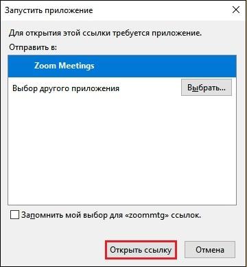 Выбор приложения Zoom на ПК