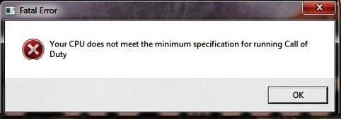 Ваш процессор не соответствует минимальным требованиям Call of Duty