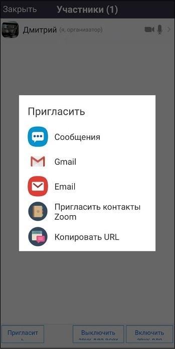 Форма для приглашения Zoom