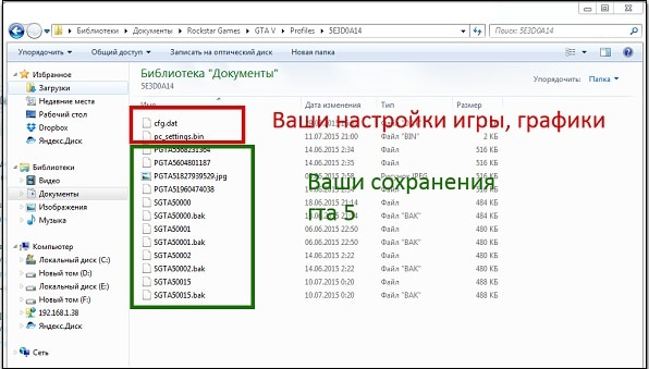 Файлы cfg.dat и pc_settings.bin в папке ГТА 5