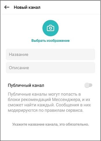 Ввод данных нового канала в Яндекс Мессенджер