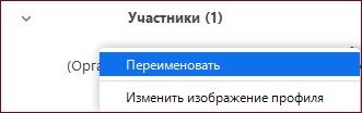 """Опция """"Переименовать"""" для имени пользователя в Зум"""