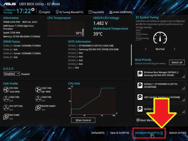 Настройки в Биосе на AMD
