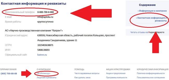 Контакты Аптека.ру