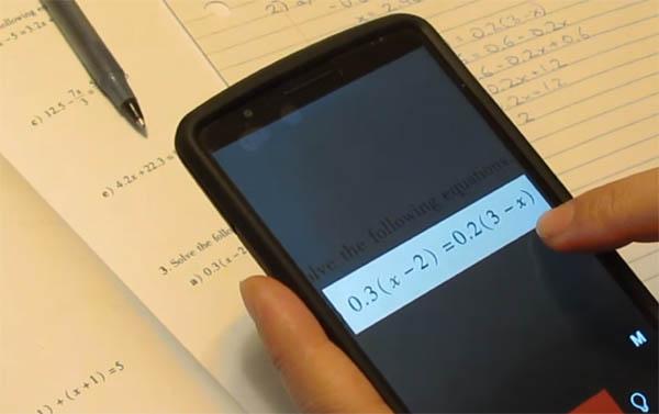 Уравнение в приложении Photomath