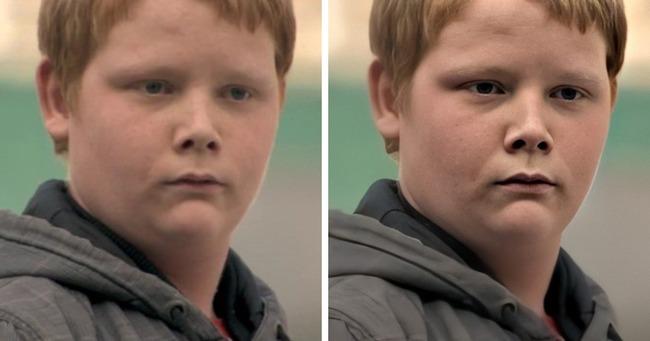 Фото мальчика с мема до и после обработки
