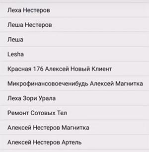 Список имен в Гетконтакт