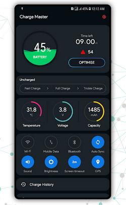 Интерфейс приложения Быстрая зарядка