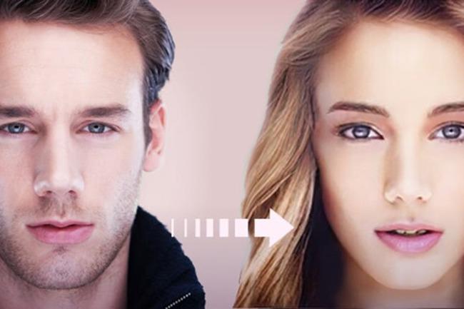 Трансформация фотографии парня в изображение девушки