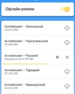 Оффлайн перевод в Яндекс