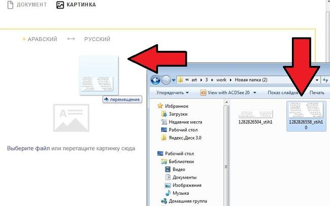 Скрин действия по переносу изображения в окно браузера