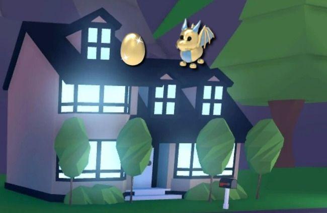Золотой дракон на темном доме ночью