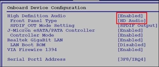 HD Audio BIOS