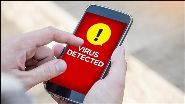 Иллюстрация заражённый вирусом телефон