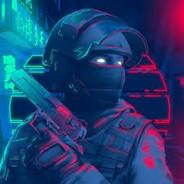 Боец с светящимися глазами и пистолетом