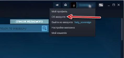 """Опция """"Об аккаунте"""""""