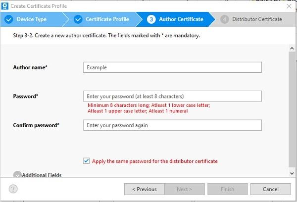 Имя и пароль сертификата