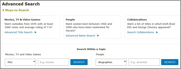Расширенный поиск IMDB
