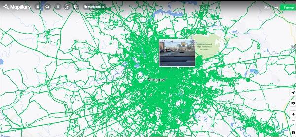 Локация Москвы Mapillary