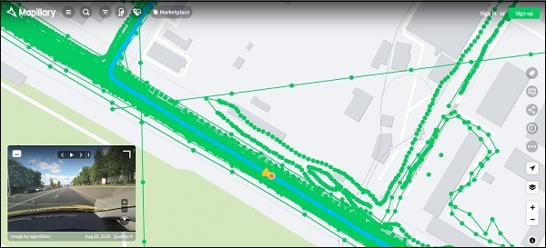 Отображение улицы Mapillary
