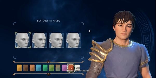 Экран выбора героя в игре