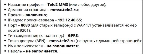 Настройки ММС Теле2